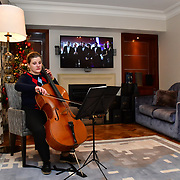 Cellist Alex performs at Rochay High Society Soiree with Jovoy at Westbury Mayfair grafton suite on 21 November 2019, London, UK.