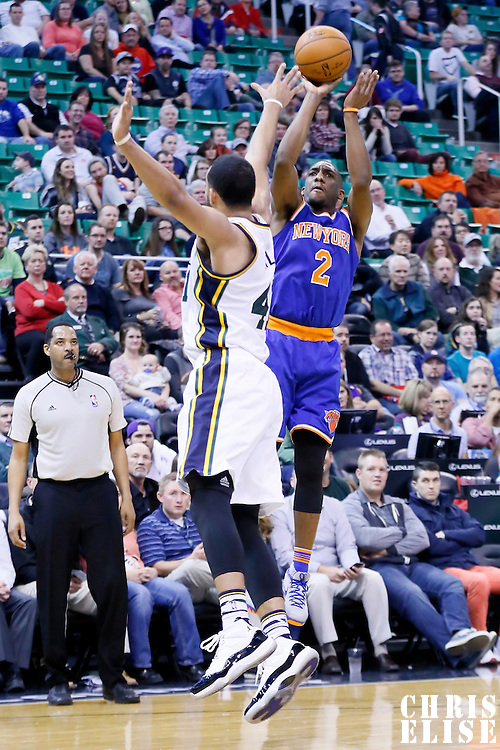 09 December 2015: New York Knicks guard Langston Galloway (2) takes a jump shot over Utah Jazz forward Trey Lyles (41) during the Utah Jazz 106-85 victory over the New York Knicks, at the Vivint Smart Home Arena, Salt Lake City, Utah, USA.