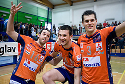 Angel Perez, Mitja Gasparini and Davor Cebron celebrate at last final volleyball match of 1.DOL Radenska Classic between OK ACH Volley and Salonit Anhovo, on April 21, 2009, in Arena SGS Radovljica, Slovenia. ACH Volley won the match 3:0 and became Slovenian Champion. (Photo by Vid Ponikvar / Sportida)
