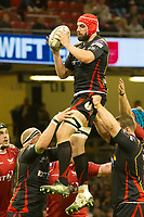 Rugby Union - 2016 / 2017 Pro12 - [Judgement Day V]: Newport Gwent Dragons vs. Scarlets<br /> <br /> Cory Hill of Newport Gwent Dragons leaps to catch the ball at a lineout, at Principality Stadium [Millennium Stadium], Cardiff.<br /> <br /> COLORSPORT/WINSTON BYNORTH