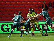 Sale Sharks No.8 Josh Strauss runs at the Irish defence during the The Aviva Premiership match Sale Sharks -V- London Irish  at The AJ Bell Stadium, Salford, Greater Manchester, England on September 15, 2017. (Steve Flynn/Image of Sport)