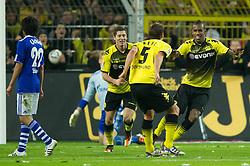 26.11.2011, Signal Iduna Park, Dortmund, GER, 1. FBL, Borussia Dortmund vs FC Schalke 04, im Bild Jubel Sebastian Kehl (#5 Dortmund), Robert Lewandowski (#9 Dortmund), Felipe Santana (#27 Dortmund) nach dem 2-0 // during Borussia Dortmund vs. FC Schalke 04 at Signal Iduna Park, Dortmund, GER, 2011-11-26. EXPA Pictures © 2011, PhotoCredit: EXPA/ nph/ Kurth..***** ATTENTION - OUT OF GER, CRO *****