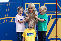 "Repro Free: 09/09/2013 TV3's ""Take a Peek"" Sybil Mulcahy is pictured taking a peek with the help of Allegra Lupu (6), Isabelle Evans both from Clonee and Jamie Wilson (5) from Knocklyon  at the launch of two new products to the Hedrin range that treats head lice, Treat & Go and Hedrin Protect & Go to help deal with the back to school outbreaks, a common occurrence with young children being in such close proximity. For the truth behind on all knits and all the facts on how to treat head lice visit www.onceaweektakeapeek.ie Picture Andres Poveda"