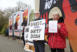 A protest was staged outside the RBS headquarters in Edinburgh against its investment in fossil fuel businesses. Pic copyright Terry Murden @edinburghelitemedia
