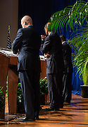 The recording of a to be televised mayoral debate by WDSU-TV in Georges Auditorium at Dillard University; News anchor Norman Robinson with candidates, Michael Bagneris, Danatus King, and Mitch Landrieu