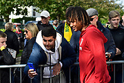 Nathan Ake (5) of AFC Bournemouth meets the fans as he arrives ahead of the Premier League match between Bournemouth and Norwich City at the Vitality Stadium, Bournemouth, England on 19 October 2019.