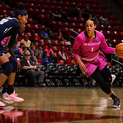 10 February 2018: The San Diego State Aztecs women's basketball team hosts Nevada on Play4Kay day at Viejas Arena. San Diego State Aztecs guard Khalia Lark (1) drives the ball into the paint while being defended by Nevada Wolf Pack forward AJ Cephas (32) in the first half. <br /> More game action at www.sdsuaztecphotos.com