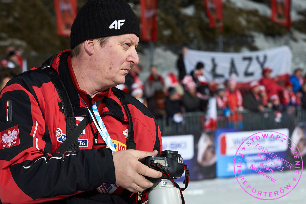 Photographer Grzegorz Momot (Polish Press Agency) during FIS World Cup Ski Jumping competition in Zakopane, Poland on January 17, 2015.<br /> <br /> Poland, Zakopane, January 17, 2015.<br /> <br /> Picture also available in RAW (NEF) or TIFF format on special request.<br /> <br /> For editorial use only. Any commercial or promotional use requires permission.<br /> <br /> Mandatory credit:<br /> Photo by &copy; Adam Nurkiewicz / Mediasport