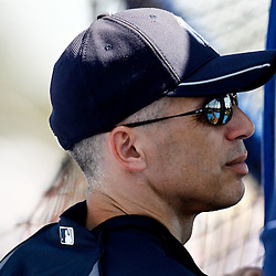 March 8, 2011; Dunedin, FL, USA; New York Yankees manager Joe Girardi (28) watches batting practice before a spring training game against the Toronto Blue Jays at Florida Auto Exchange Stadium. Mandatory Credit: Derick E. Hingle-US PRESSWIRE