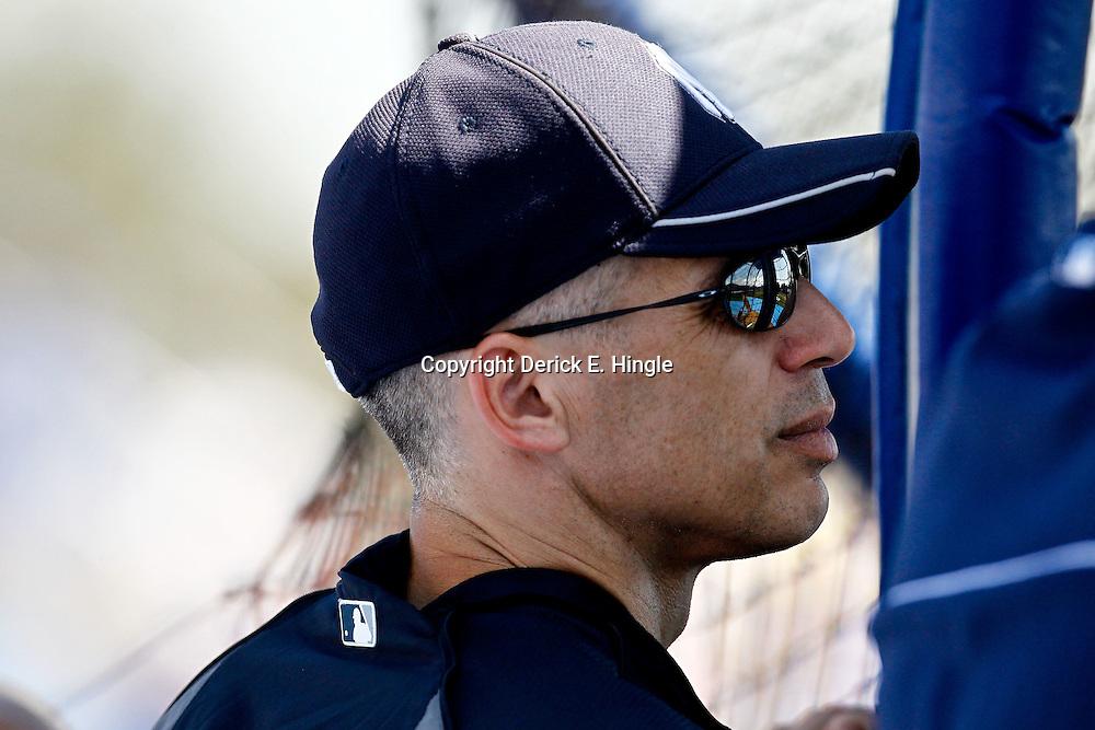 March 8, 2011; Dunedin, FL, USA; New York Yankees manager Joe Girardi (28) watches batting practice before a spring training game against the Toronto Blue Jays at Florida Auto Exchange Stadium. Mandatory Credit: Derick E. Hingle-US PRESSWIRE