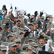 Army personnel support their team during the Army Black Knights Vs Air Force Falcons, College Football match at Michie Stadium, West Point. New York. Air Force won the game 23-6. West Point, New York, USA. 1st November 2014. Photo Tim Clayton