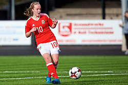 MERTHYR, WALES - Thursday, February 16, 2017: Wales' Emily Poole in action during a Women's Under-17's International Friendly match against Hungary at Penydarren Park. (Pic by Laura Malkin/Propaganda)