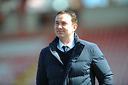 Plymouth Argyle manager Derek Adams at St James Park in the build up to the Devon derby v Exeter City in  the Sky Bet League 2 match between Exeter City and Plymouth Argyle at St James' Park, Exeter, England on 2 April 2016. Photo by Graham Hunt.