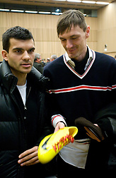 Aleksander Radosavljevic and Milivoje Novakovic with new Nike's sport shoes at New Year's  party of Slovenian football federation, on December 22, 2009, in Center Brdo, Slovenia. (Photo by Vid Ponikvar / Sportida)