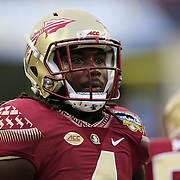 Florida State Seminoles running back Dalvin Cook (4) is seen during warmups prior to an NCAA football game between the Ole Miss Rebels and the Florida State Seminoles at Camping World Stadium on September 5, 2016 in Orlando, Florida. (Alex Menendez via AP)