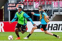 ALKMAAR - 19-10-2016, training persconferentie AZ, AFAS Stadion, AZ speler Fred Friday, AZ speler Wout Weghorst