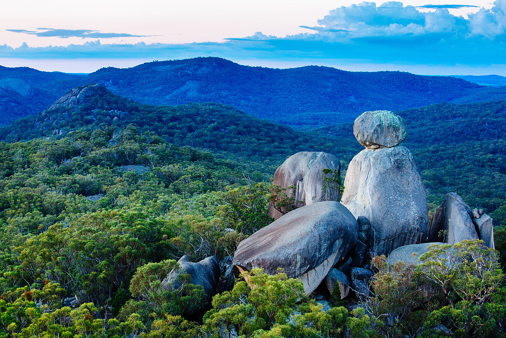 The rock formation known as The Sphinx as seen from Turtle Rock late in the day. Girraween National Park.