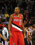 Dec. 10 2010; Phoenix, AZ, USA; Portland Trailblazers forward Marcus Camby (23) reacts on the court against the Phoenix Suns at the US Airways Center. The Trailblazers defeated the Suns 101-94. Mandatory Credit: Jennifer Stewart-US PRESSWIRE..