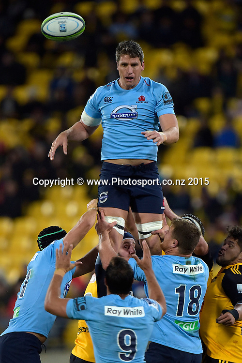 Waratahs' captain David Dennis passes out the line out ball during the Super Rugby - Hurricanes v Waratahs rugby union match at the Westpac Stadium in Wellington on Saturday the 18th of April 2015. Photo by Marty Melville / www.Photosport.co.nz