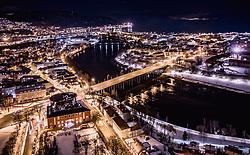 THEMENBILD - die beleuchtete Stadt mit dem Fluss Nidelva und der Elgeseter Bruecke , aufgenommen am 13. Maerz 2019 in Trondheim, Norwegen // the illuminated city with the river Nidelva and the Elgeseter bridge, Trondheim, Norway on 2018/03/13. EXPA Pictures © 2019, PhotoCredit: EXPA/ JFK