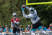Carolina Panthers quarterback Cam Newton (1) completes a pass to wide receiver Curtis Samuel (10) during training camp at Wofford College, Sunday, August 11, 2019, in Spartanburg, S.C. (Brian Villanueva/Image of Sport)