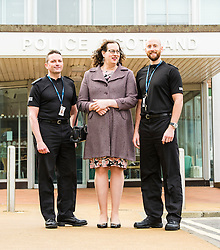 Pictured: Superintendent Davie Duncan, Cathleen Lauder and constable Grant Robertson.<br /> <br /> Today, Police Scotland launched a campaign against hate crime, intolerance and prejudice. Superintendent Davie Duncan and several LGBTI-trained officers provided a briefing on the drive, which is part of Hate Crime Awareness Week. Tim Hopkins of the Equality Network and Cate Lauder, who experienced a transphobic hate crime explained the positive response she received from Police Scotland.<br /> <br /> Ger Harley | EEm 7 October 2016