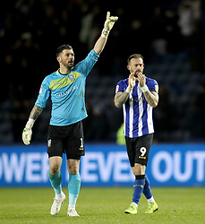 Sheffield Wednesday goalkeeper Keiren Westwood and Steven Fletcher clap off the fans