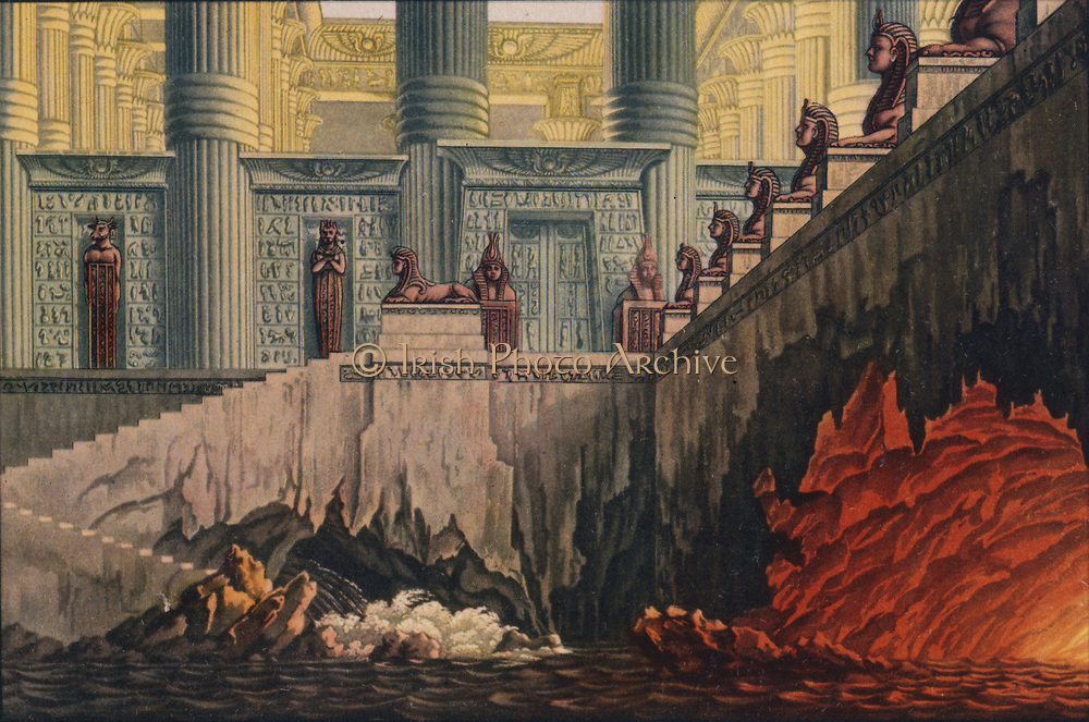 Fire and Water, two of the ordeals which Tamino has to undergo. 'Die Zauberflote' (The Magic Flute) by Wolfgang Amadeus Mozart (1756-1791).  Plot has overtones of Freemasonry. The Queen of the Night is said to be based on Empress Maria Theresa.  Decor by Karl Friedrich Schinkel, 1816. Biblioteque de l'Opera, Paris.