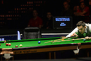 19.02.2016. Cardiff Arena, Cardiff, Wales. Bet Victor Welsh Open Snooker. Mark Selby versus Ronnie O'Sullivan. Mark Selby using the rest.