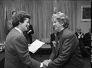 "Irish Laureate Women Of Europe Award. (T10)..1989..17.11.1989..11.17.1989..17th November 1989..Speculation regarding the Irish Laureate for the 1989 Women of Europe Award ended today when the Minister for Education, Ms Mary O'Rourke TD, announced that the Irish Laureate for this year is Grainne Kenny. Founder member of EURAD (Europe Against Drugs), and well known for her work as ""The drugs lady"" in Ireland, Grainne Kenny has been involved in the fight against drugs since 1980. She helped form CAD, Community Action and Drugs and later EURAD. EURAD is has the active co-operation of both the European Commission and Parliament...Picture shows Ms Grainne Kenny being congratulated, on her achievement in winning the award,by Minister for Education,Mary O'Rourke TD."