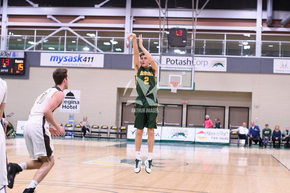 2nd year guard Samuel Hillis (2) of the Regina Cougars in action during the home game on January  14 at Centre for Kinesiology, Health and Sport. Credit: /Arthur Images