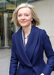 © Licensed to London News Pictures. 19/02/2017. London, UK. Secretary of State for Justice, Lord Chancellor LIZZ TRUSS leaves BBC Broadcasting House in London after an appearance on The Andrew Marr Show on BBC one on February 19, 2017. Photo credit: Ben Cawthra/LNP