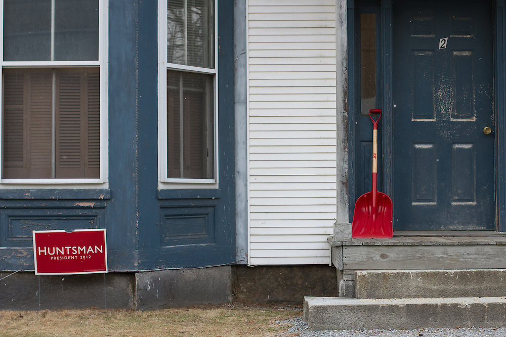 PETERBOROUGH, NH - JANUARY 05: A sign supporting Jon Huntsman is pictured at a home in Peterborough, New Hampshire on January 05, 2012 in Manchester, New Hampshire. Former Massachusetts Governor Mitt Romney holds a significant lead over his rivals in recent polls for the upcoming primary.  (Photo by Matthew Cavanaugh/Getty Images)..