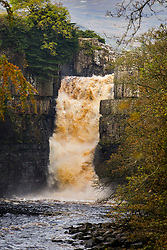 © Licensed to London News Pictures. 14/10/2019. Middleton in Teesdale UK. Water thunders over High Force Waterfalls this morning on the River Tees, Near Middleton after recent heavy rainfall. Photo credit: Andrew McCaren/LNP