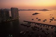 Hong Kong. Ap lei chau and Lama islands and junks, port