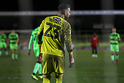 Grimsby Towns goalkeper Sam Russell(23) during the EFL Sky Bet League 2 match between Forest Green Rovers and Grimsby Town FC at the New Lawn, Forest Green, United Kingdom on 22 January 2019.