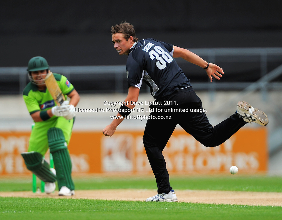 Pakistan's Kamran Akmal plays a shot past bowler Tim Southee. First one-day international cricket match - New Zealand v Pakistan at Westpac Stadium, Wellington, New Zealand on Saturday, 22 January 2011. Photo: Dave Lintott / photosport.co.nz