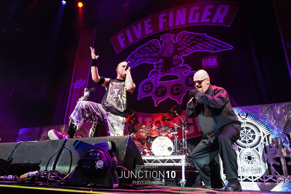 Rob Halford of Judas Priest joins Five Finger Death Punch in concert at the LG Arena, Birmingham, United Kingdom<br /> Picture Date: 5 December, 2013