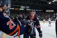 KELOWNA, CANADA - MARCH 25: Gage Quinney #7 of Kamloops Blazers celebrates the first Kamloops Blazers goal against the Kelowna Rockets on March 25, 2016 at Prospera Place in Kelowna, British Columbia, Canada.  (Photo by Marissa Baecker/Shoot the Breeze)  *** Local Caption *** Gage Quinney;