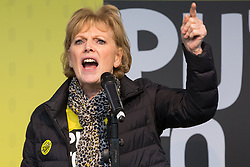 London, UK. 23rd March, 2019. Anna Soubry, Independent Group MP for Broxtowe, addresses a million people taking part in a People's Vote rally in Parliament Square following a march from Park Lane.