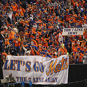 New York Mets fans supporting their team during the New York Mets Vs Kansas City Royals, Game 5 of the MLB World Series at Citi Field, Queens, New York. USA. 1st November 2015. Photo Tim Clayton