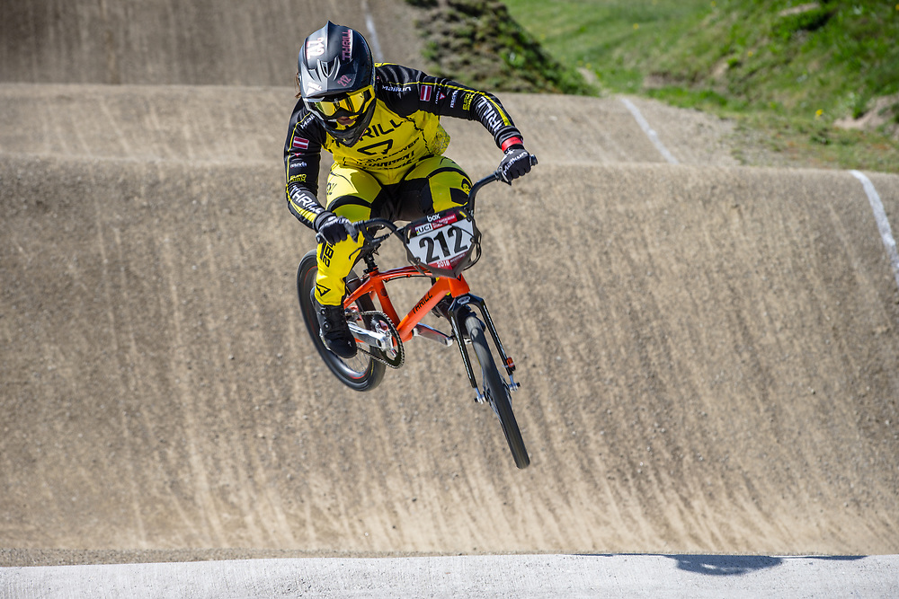 #212 (PETERSONE Vineta) LAT during practice of Round 3 at the 2018 UCI BMX Superscross World Cup in Papendal, The Netherlands