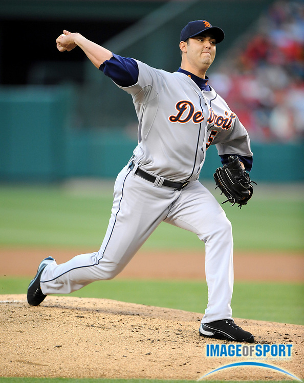 May 28, 2008; Anaheim, CA, USA; Detroit Tigers starter Armando Galarraga (58) pitches during 6-2 victory over the Los Angeles Angels at Angel Stadium. Mandatory Credit: Kirby Lee/Image of Sport-US PRESSWIRE