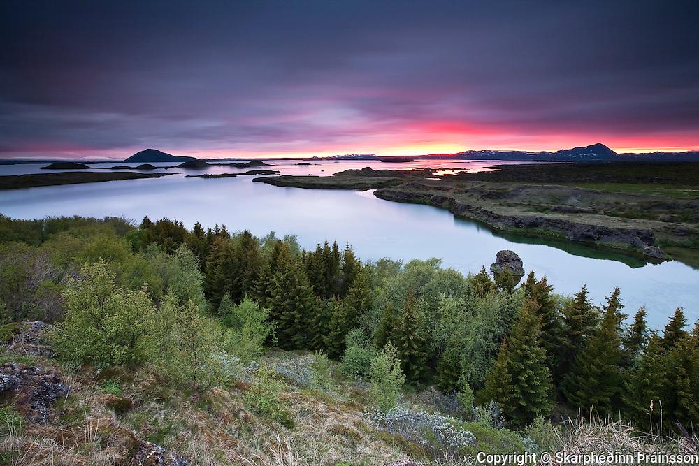 Sunrise at lake Mývatn, north Iceland