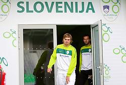 Nejc Pecnik and Samir Handanovic during the Slovenia training session at Stozice stadium on October 7, 2010 in SRC Stozice, Ljubljana, Slovenia. (Photo by Vid Ponikvar / Sportida)
