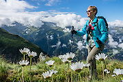 Hike the dramatic Sentier des Chamois from Verbier, in Switzerland, the Alps, Europe. The Chamois Path starts at La Chaux ski lift and ends at Fionnay PostBus. Cross Col Termin (2648m/8688 ft) in Haut Val de Bagnes nature reserve and descend to Lake Louvie via 1800s stone barns to the north, then to Fionnay (640 m up, 1415 m down in 8.5 hours). Along the way, we admired a group fighting of Hérens cows, ibex with huge horns, and the glaciers of Grand Combins. Optionally stay overnight in dorms Cabane de Louvie. For licensing options, please inquire.