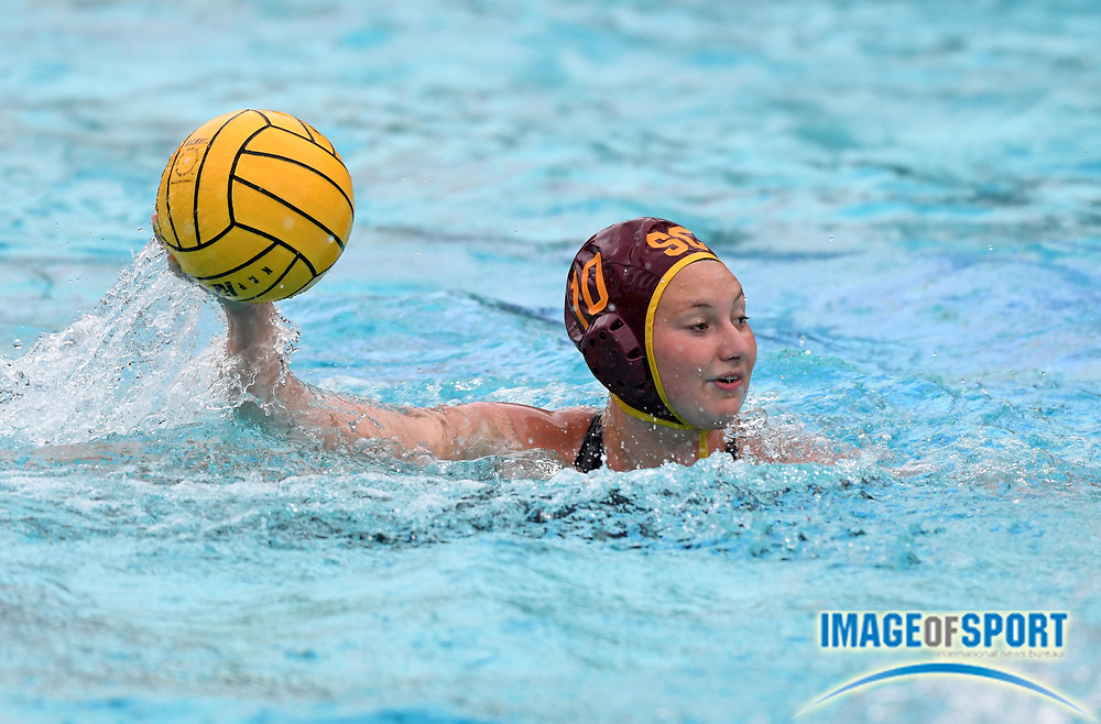 Southern California Trojans utility player Nadia Pavlovich (10) against the Wagner Seahawks during an NCAA college women's water polo quarterfinal game in Los Angeles, Friday, May 11, 2018. USC defeated Wagner 12-5.  (Kirby Lee via AP)
