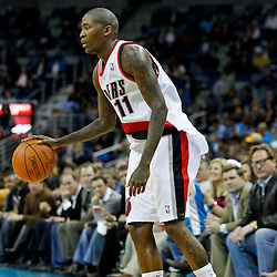 February 10, 2012; New Orleans, LA, USA; Portland Trail Blazers guard Jamal Crawford (11) against the New Orleans Hornets during the a game at the New Orleans Arena. The Trail Blazers defeated the Hornets 94-86. Mandatory Credit: Derick E. Hingle-US PRESSWIRE