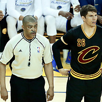 04 June 2017: referee Tony Brothers (25) is seen  next to Cleveland Cavaliers guard Kyle Korver (26) during the Golden State Warriors 132-113 victory over the Cleveland Cavaliers, in game 2 of the 2017 NBA Finals, at the Oracle Arena, Oakland, California, USA.