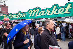© Licensed to London News Pictures. 15/04/2018. London, UK. EU supporters queue outside the Electric Ballroom in Camden before the launch event for the People's Vote campaign which is calling for a public vote on the final Brexit deal. Photo credit: Rob Pinney/LNP